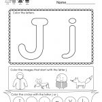 Free Printable Letter J Coloring Worksheet For Kindergarten   Free Printable Letter J