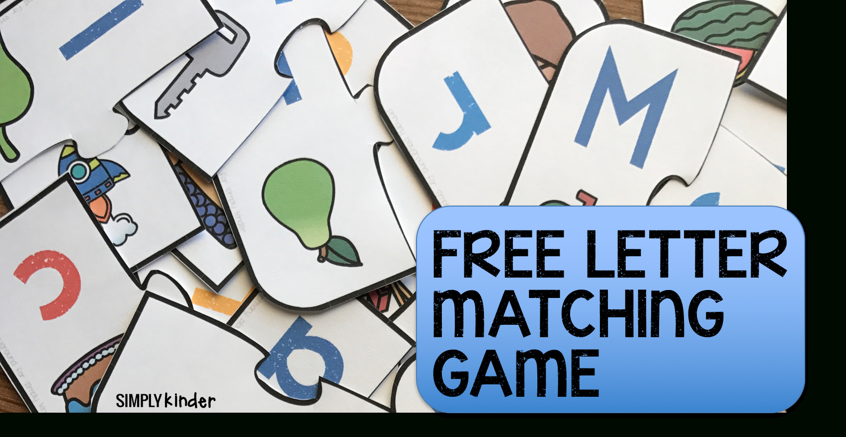 Free Printable Letter Matching Game - Simply Kinder - Free Printable Matching Cards