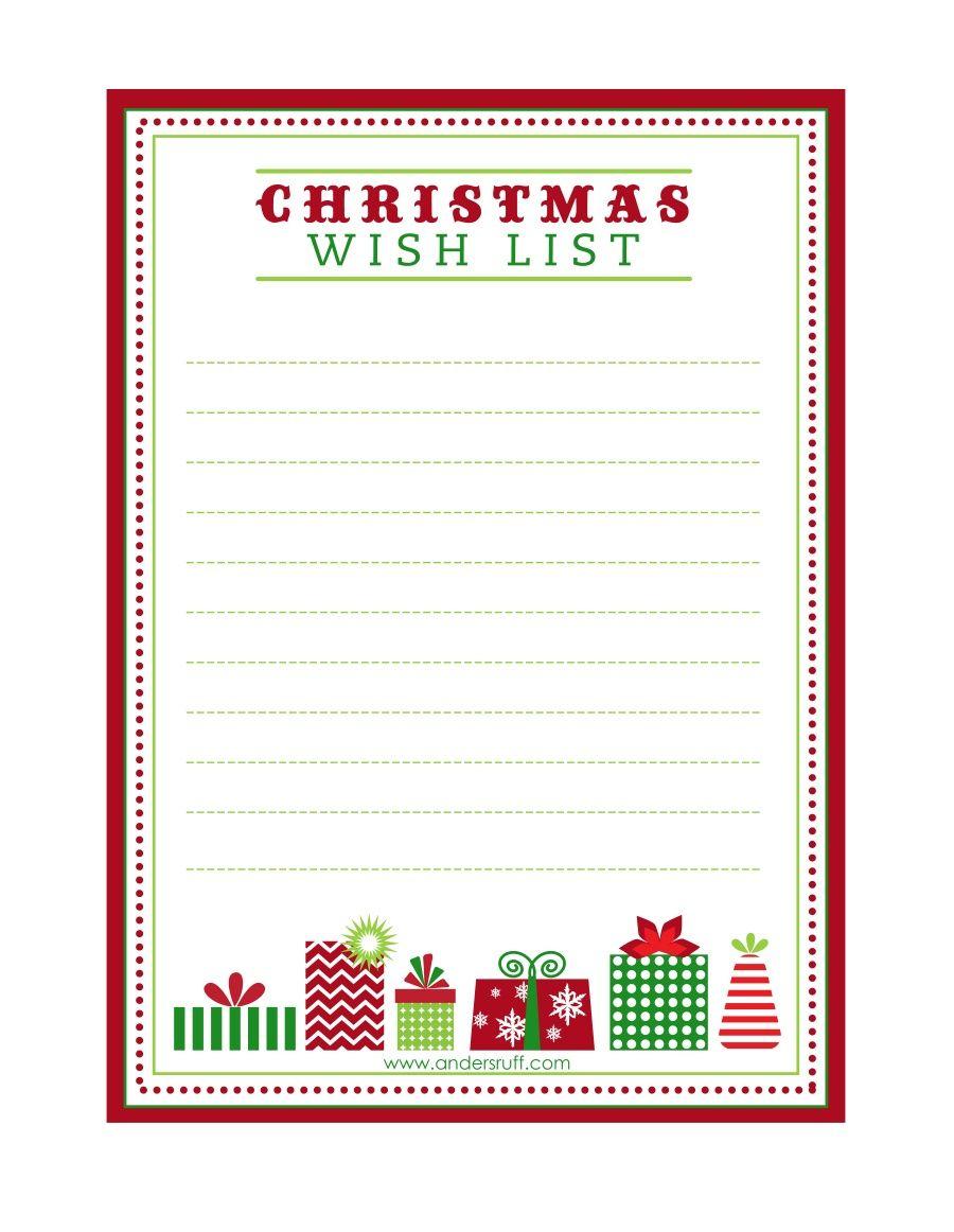 "Free Printable ""letter To Santa"", ""christmas Wish List"" And Tag - Free Printable Christmas List"