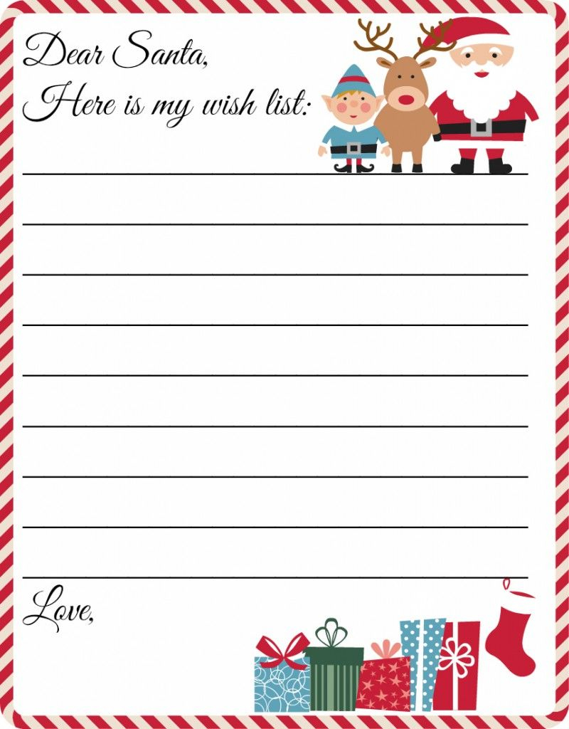 Free Printable Letter To Santa Template ~ Cute Christmas Wish List - Free Printable Christmas List