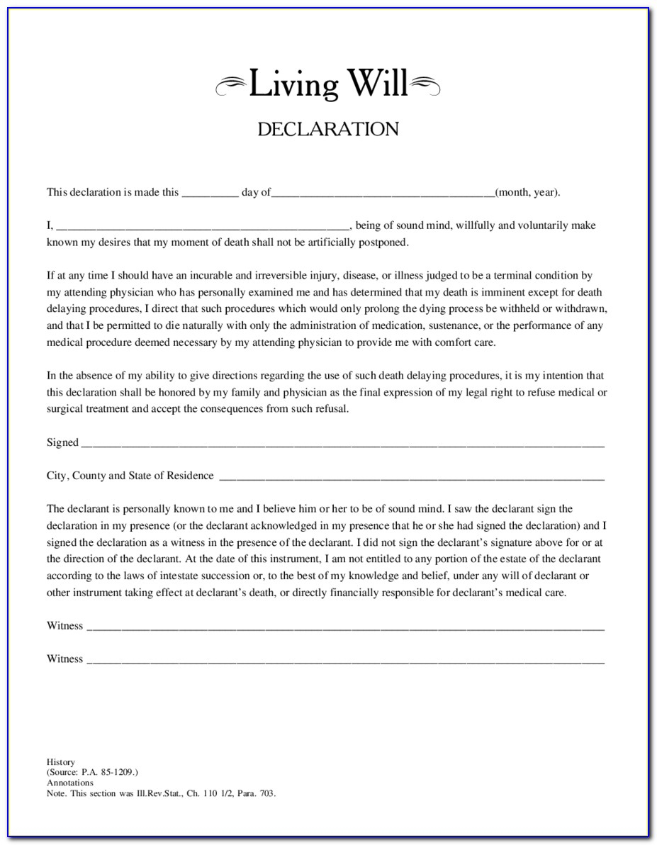 Free Printable Living Will Forms Illinois - Form : Resume Examples - Free Printable Will Papers