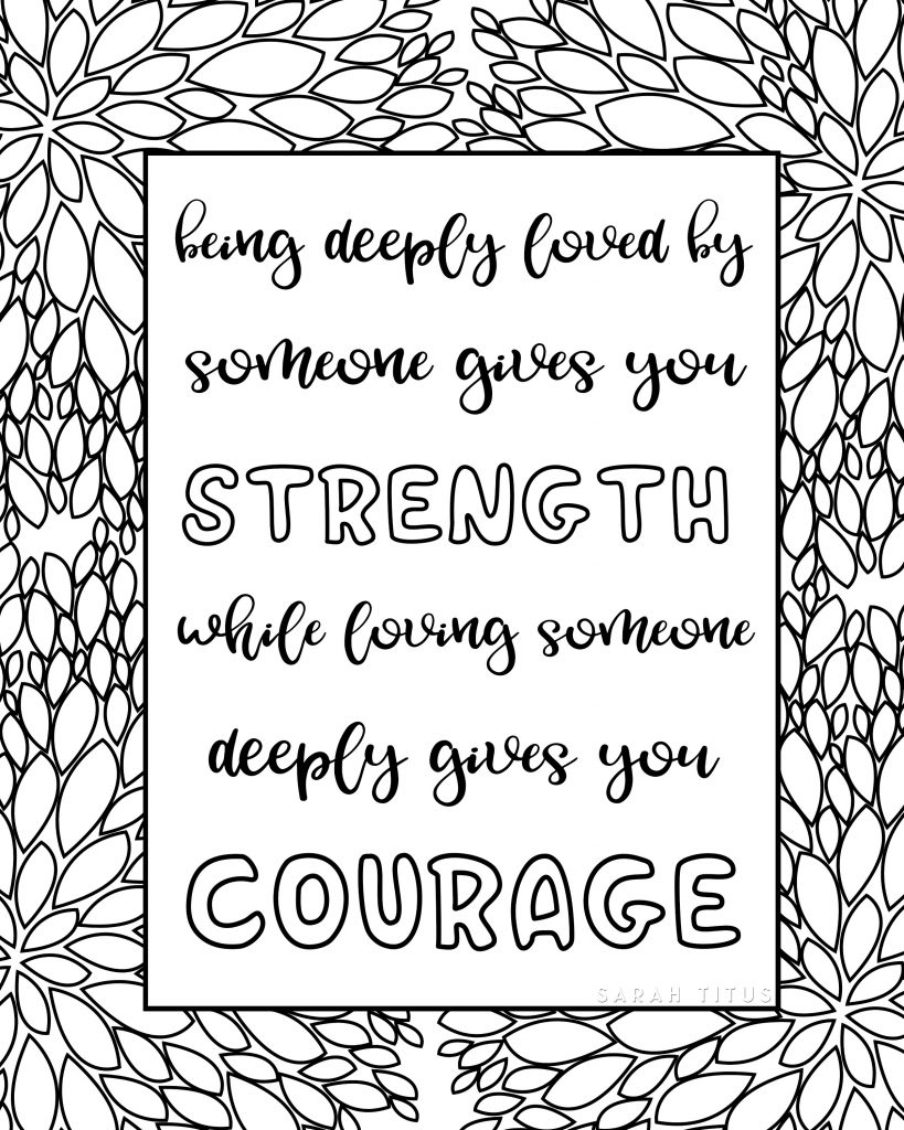 Free Printable Love Quotes Coloring Sheets - Sarah Titus - Free Printable Quote Coloring Pages For Adults