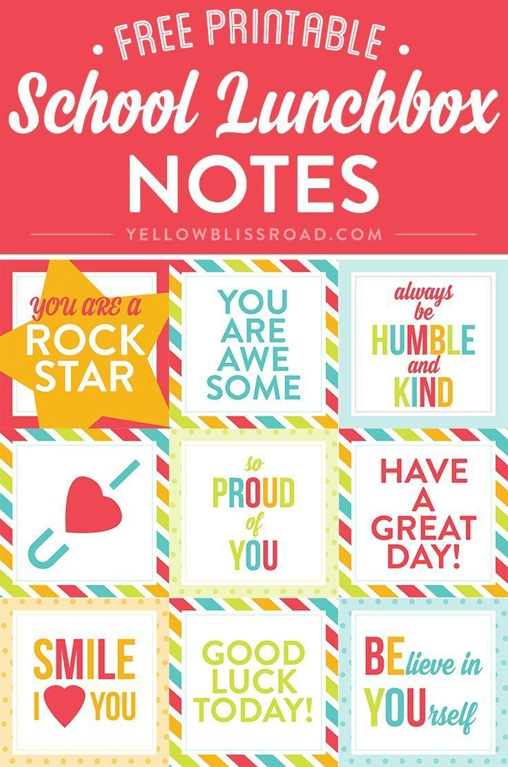 Free Printable Lunch Box Notes | Pinterest Best | Pinterest | Lunch - Free Printable Lunchbox Notes