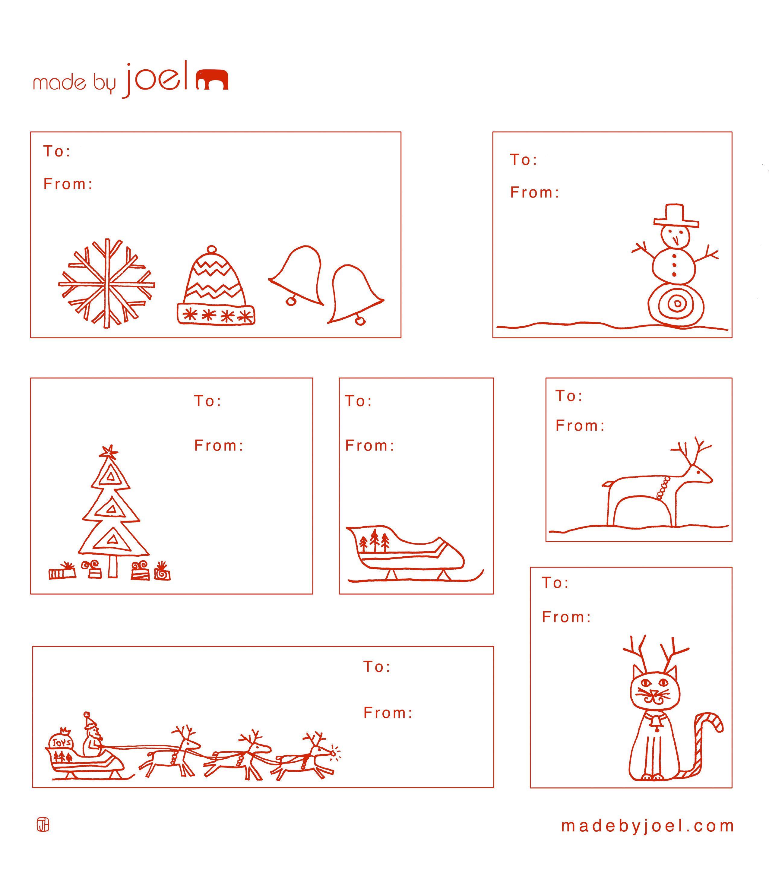 Free Printable: Madejoel » Holiday Gift Tag Templates - Free Printable Holiday Labels
