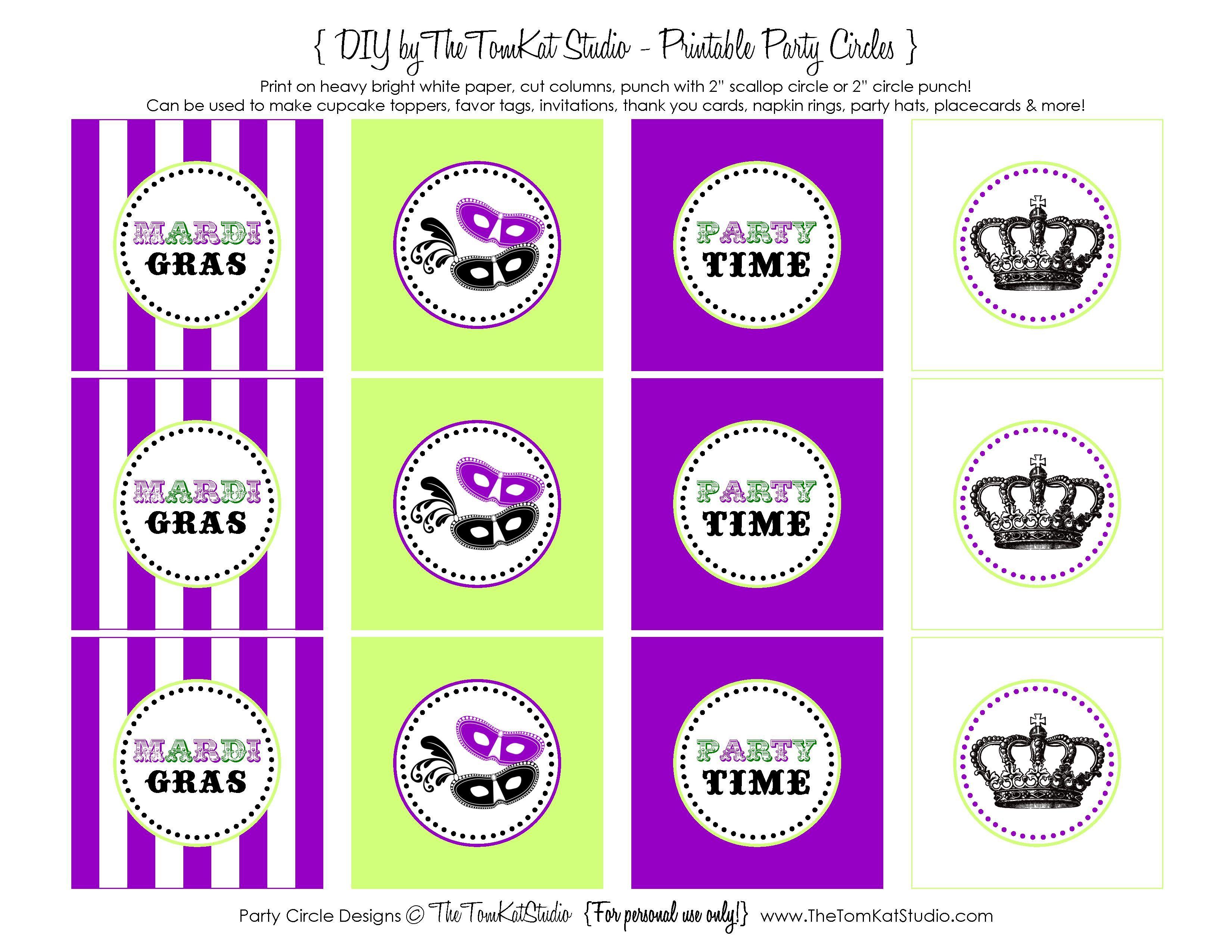 Free Printable} Mardi Gras Party Circles   Mardi Gras Party   Mardi - Free Printable Party Circles