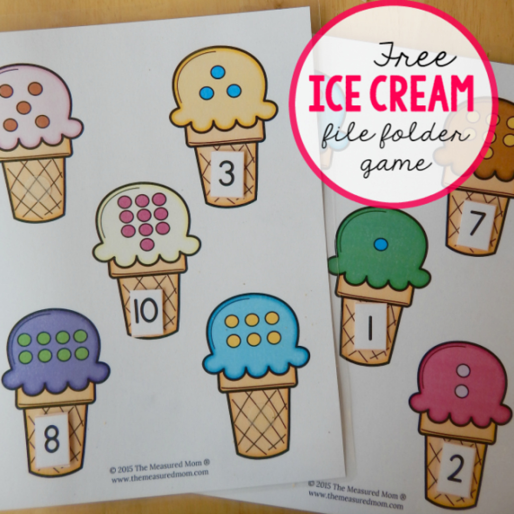 Free Printable Math File Folder Games For Preschoolers Ice Cream - Free Printable Math File Folder Games For Preschoolers