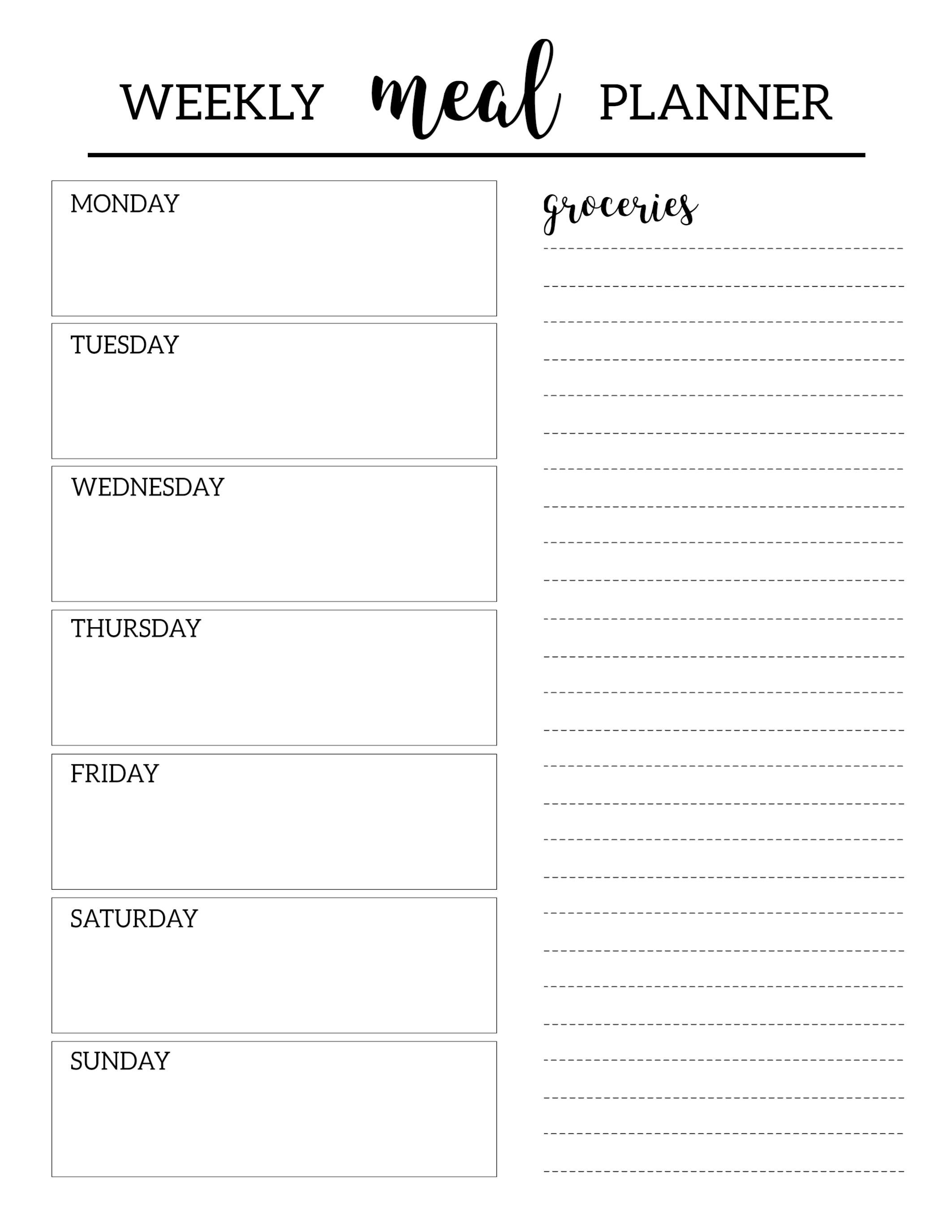Free Printable Meal Planner Template | Organization | Pinterest - Free Printable Menu Planner