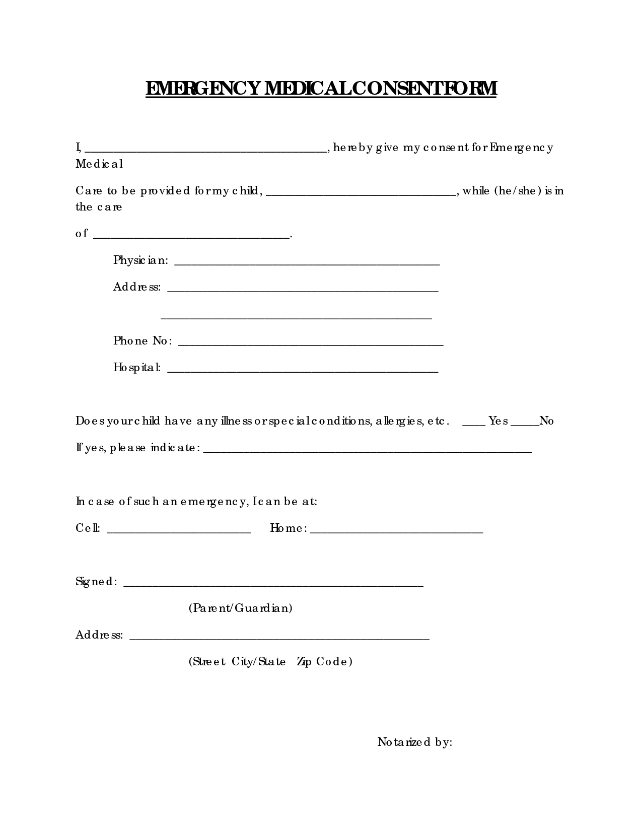Free Printable Medical Consent Form   Emergency Medical Consent Form - Free Printable Medical Forms Kit