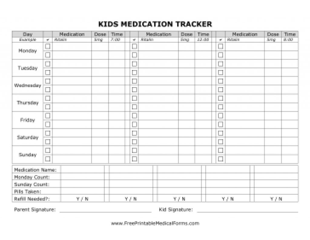 Free Printable Medication Tracker Template Within Free Printable - Free Printable Daily Medication Chart