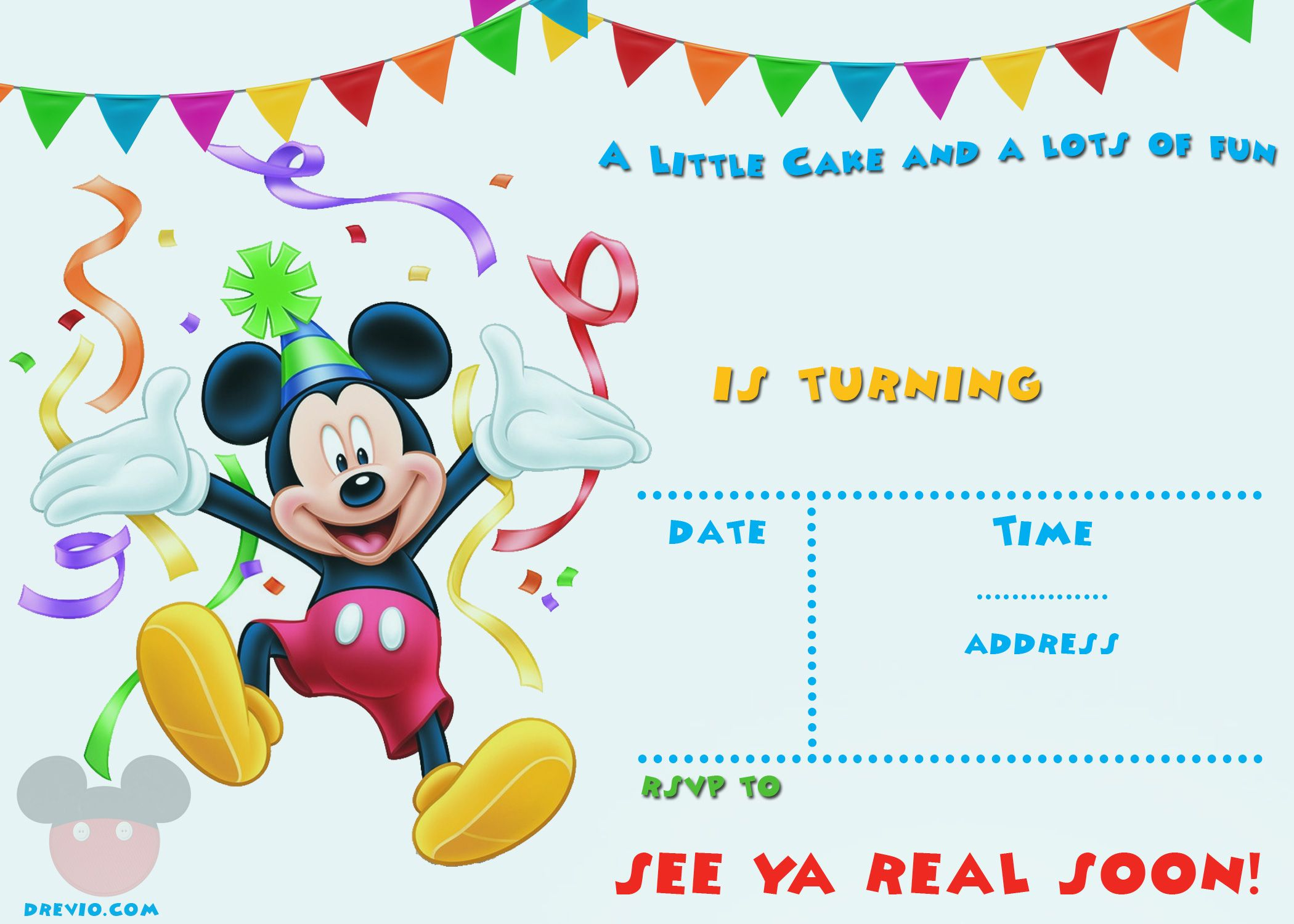 Free Printable Mickey Mouse Party Invitation | Free Printable - Free Printable Mickey Mouse 1St Birthday Invitations