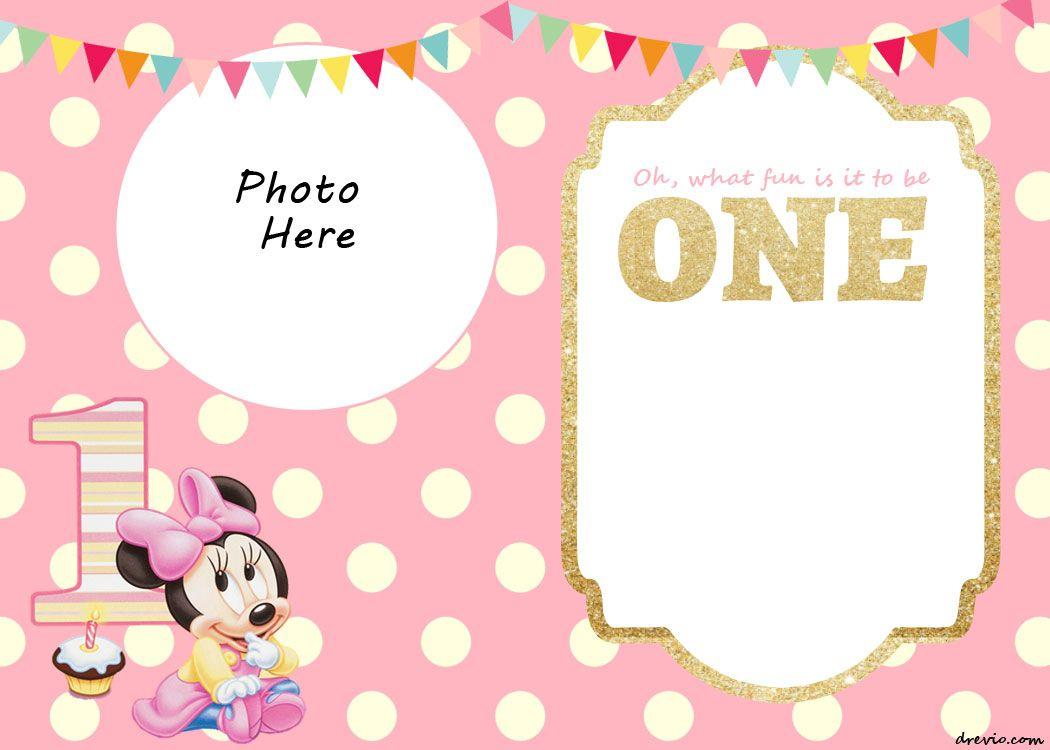Free Printable Minnie Mouse 1St Invitation   Free Printable - Free Printable Minnie Mouse Party Invitations