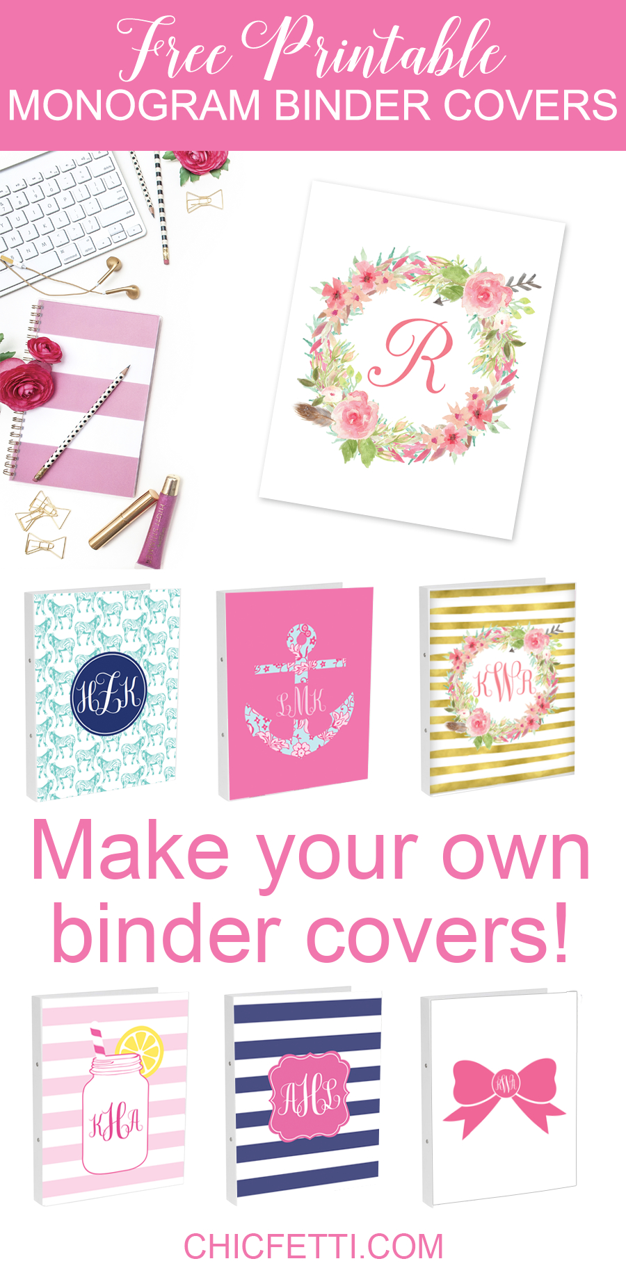 Free Printable Monogram Binder Covers From @chicfetti - Make Your Ow - Free Printable Monogram Binder Covers