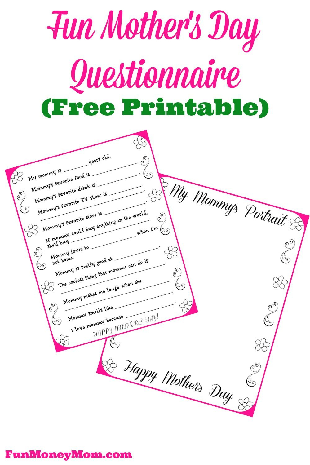 Free Printable Mother's Day Questionnaire & Portrait Page | Best - Free Printable Mother's Day Questionnaire