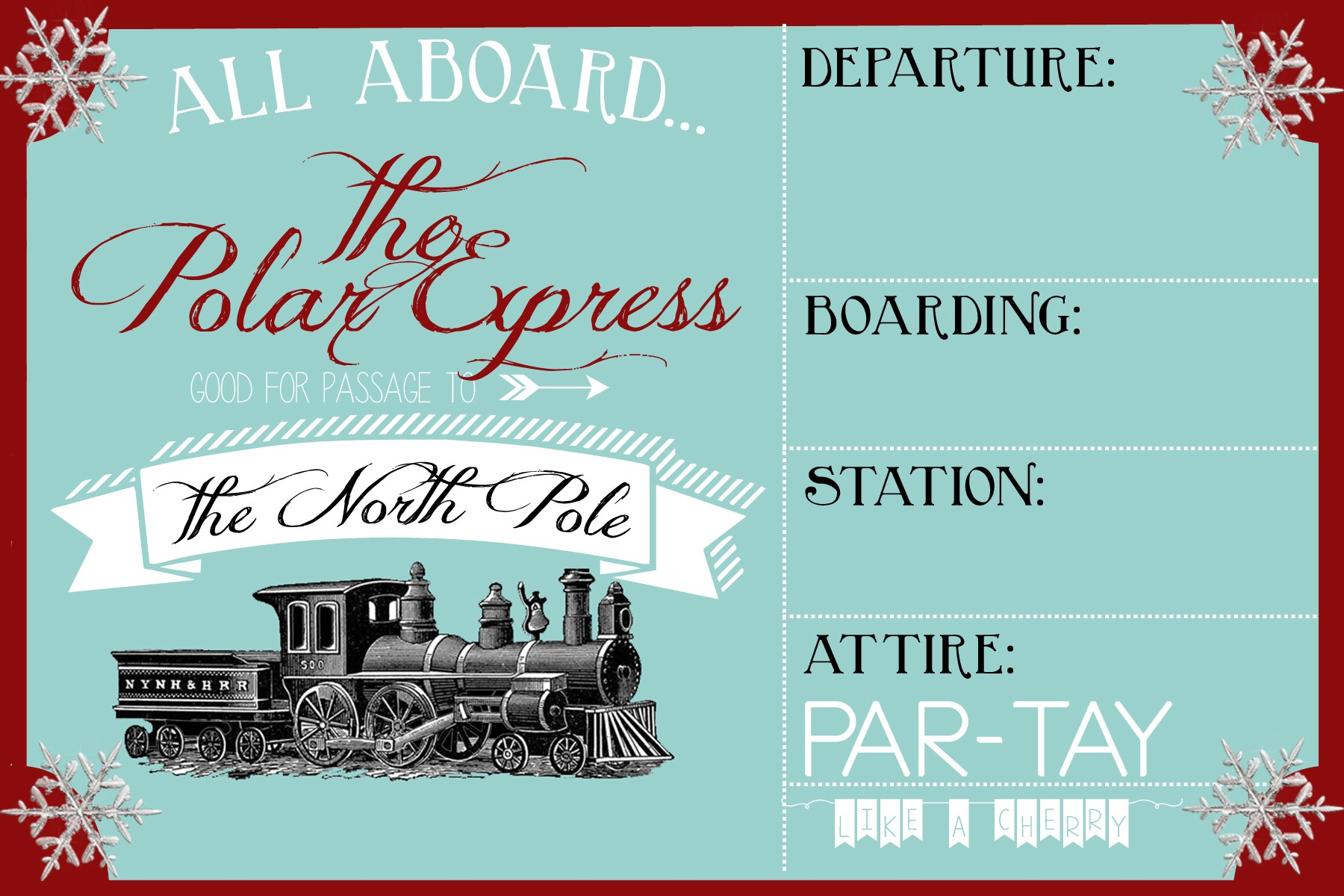 Free Printable Movie Tickets Template Polar Express Party Invitation - Free Polar Express Printable Tickets