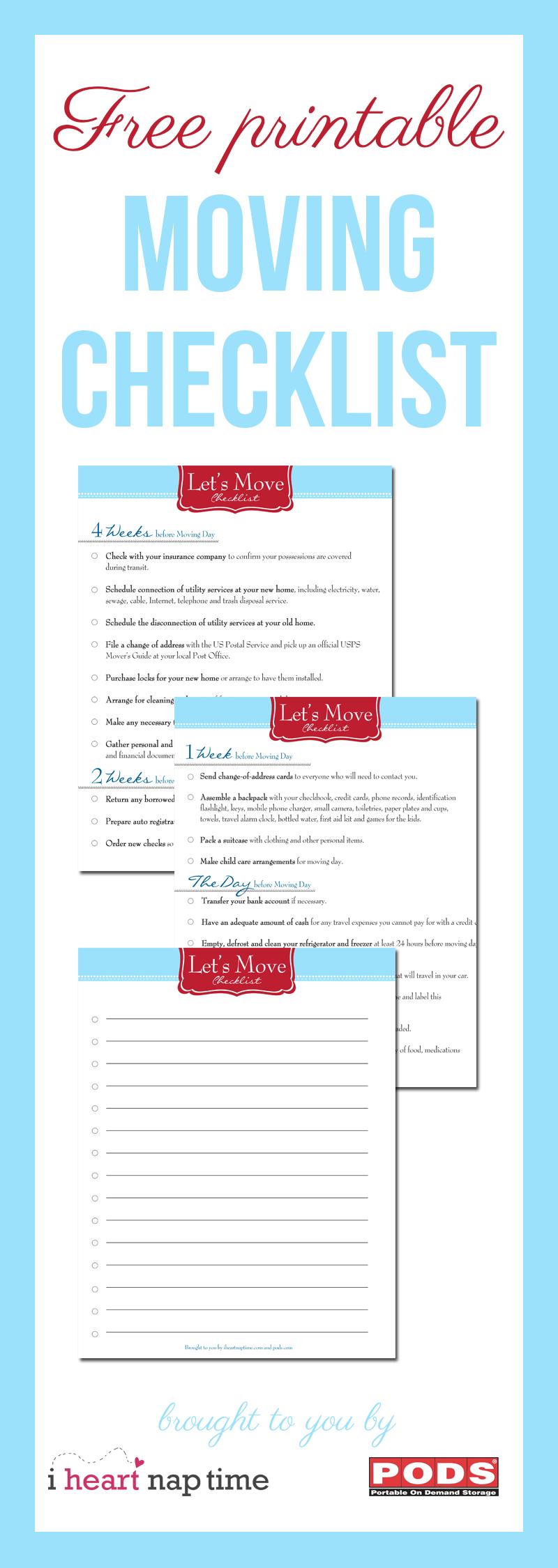 Free Printable Moving Checklist - I Heart Nap Time - Free Printable Moving Checklist And Planner