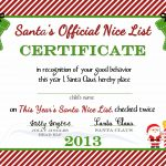 Free Printable) Nice List Certificate From The North Pole   A   Good Behaviour Certificates Free Printable