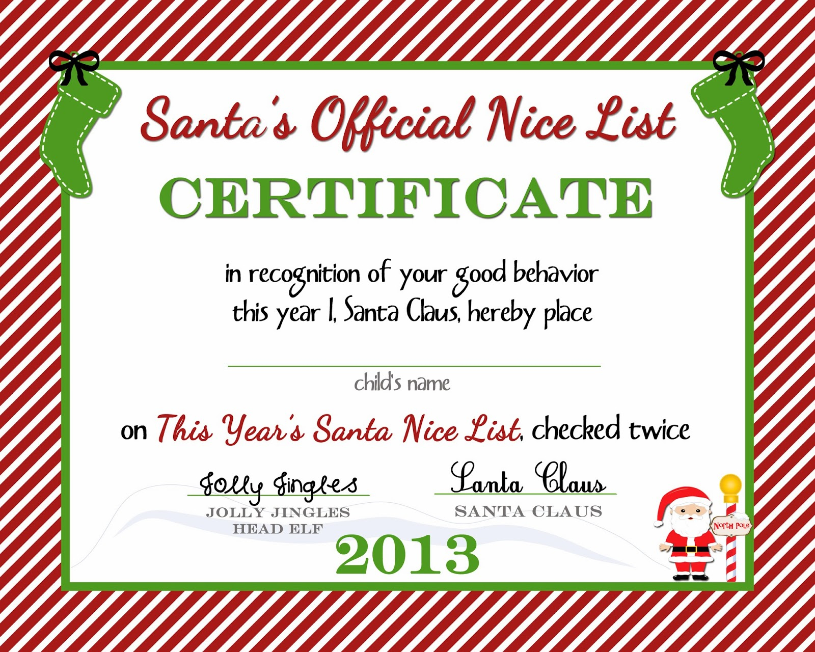 Free Printable) Nice List Certificate From The North Pole - A - Good Behaviour Certificates Free Printable
