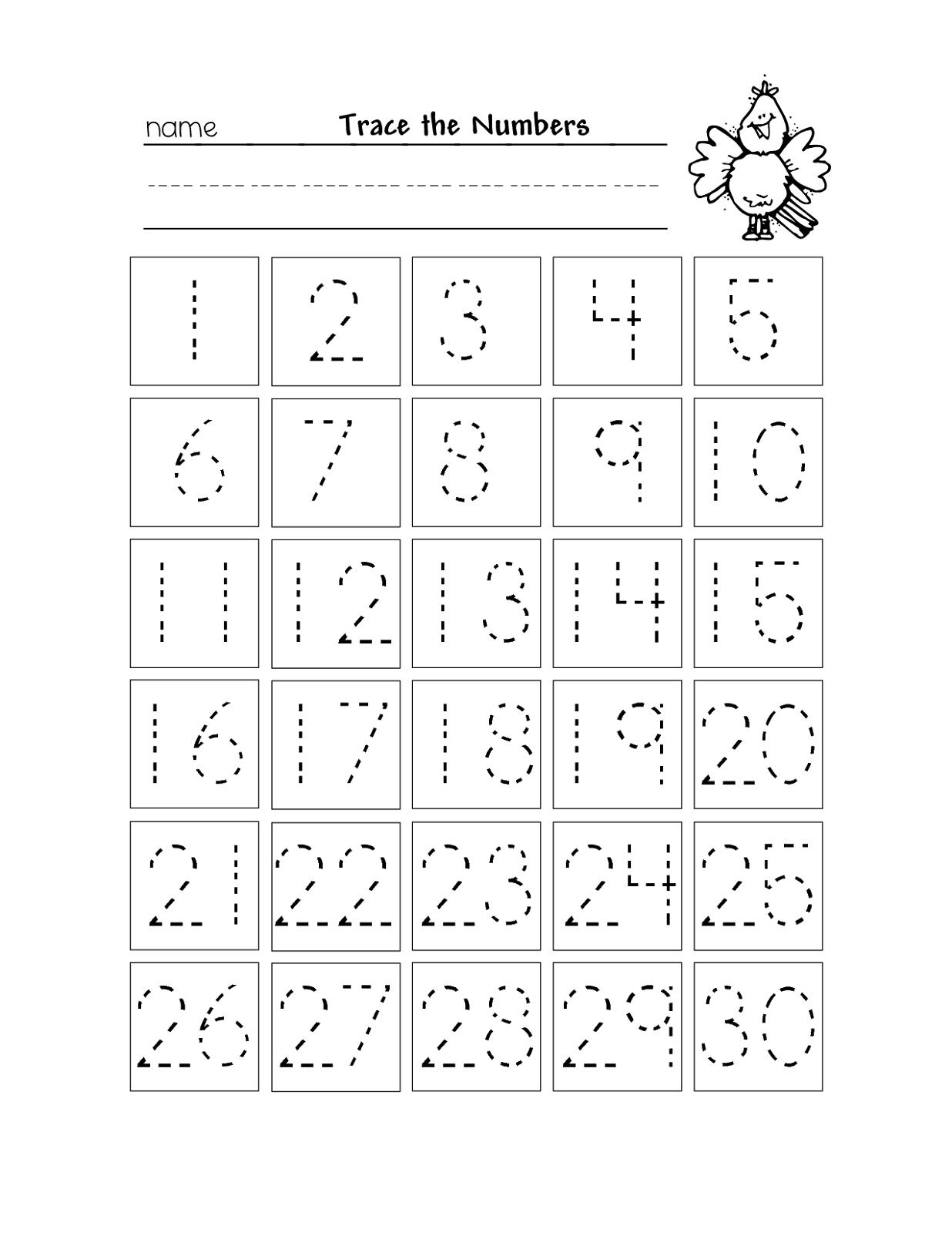 Free Printable Number Chart 1-30 | Kinder | Numbers Preschool - Free Printable Number Flashcards 1 30