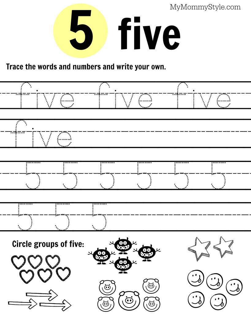 Free Printable Number Worksheets 1-9 - My Mommy Style - Free Printable Number Worksheets