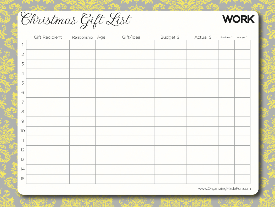 Free Printable - Organize Your Christmas Gifts With This Gift List - Free Printable Gift List