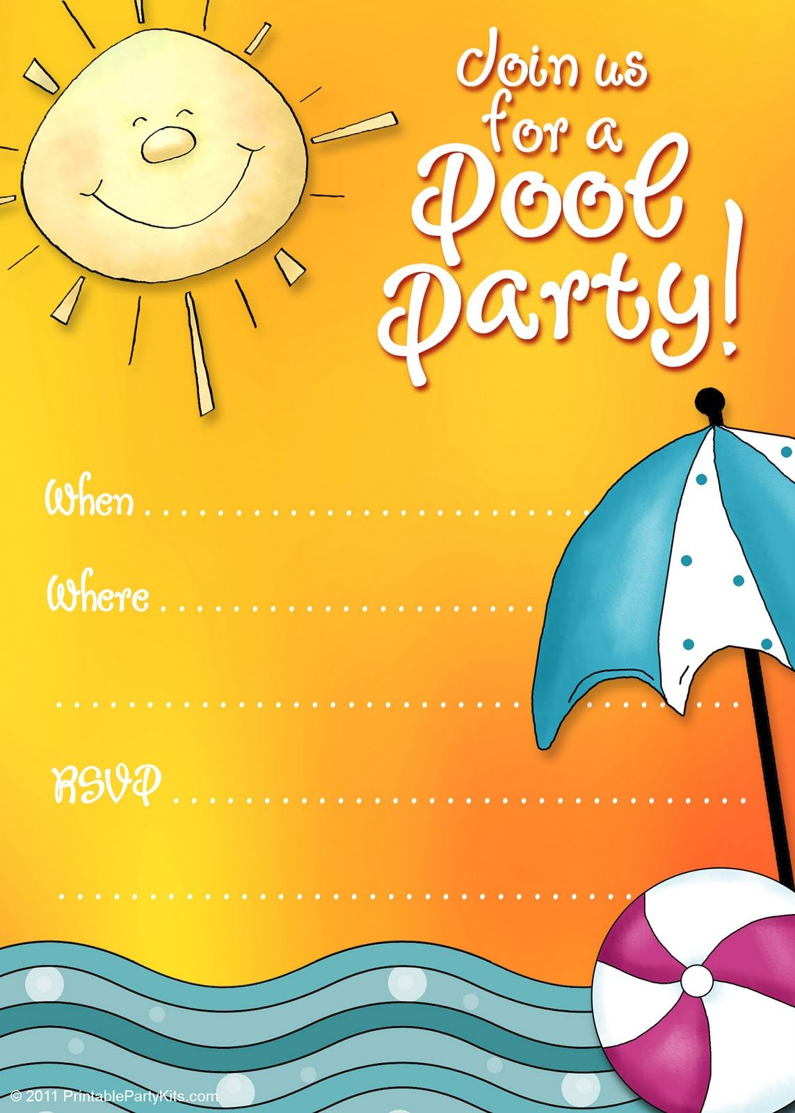 Free Printable Party Invitations: Summer Pool Party Invites - Free Printable Pool Party Invitation Cards