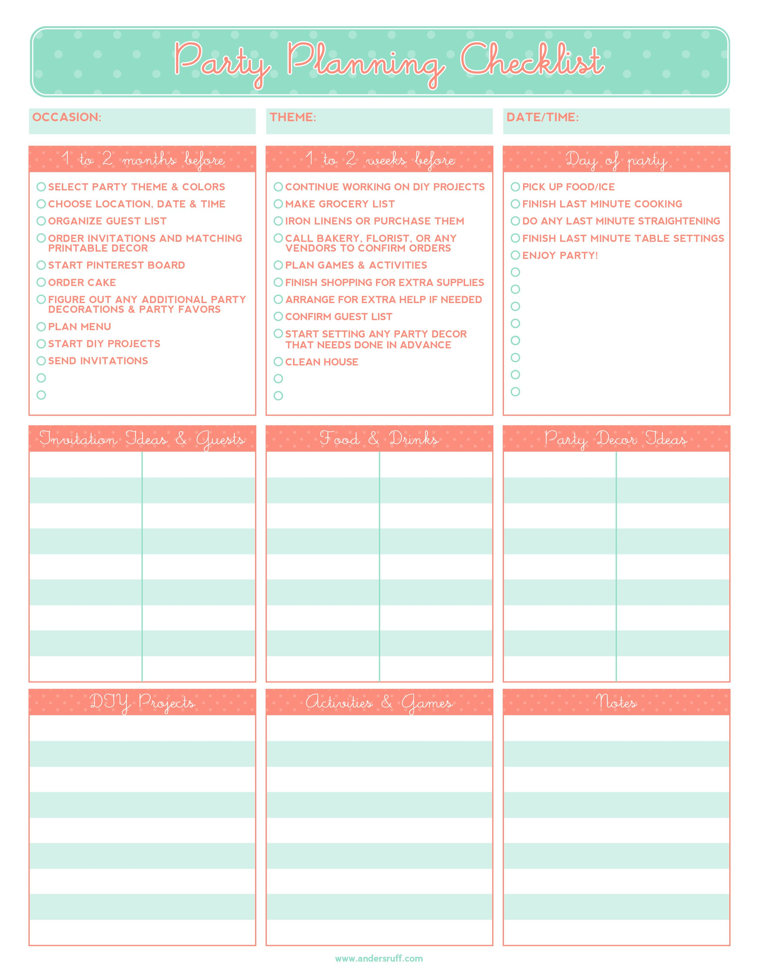 Free Printable Party Planning Checklist | It's The Little Things - Free Printable Birthday Guest List