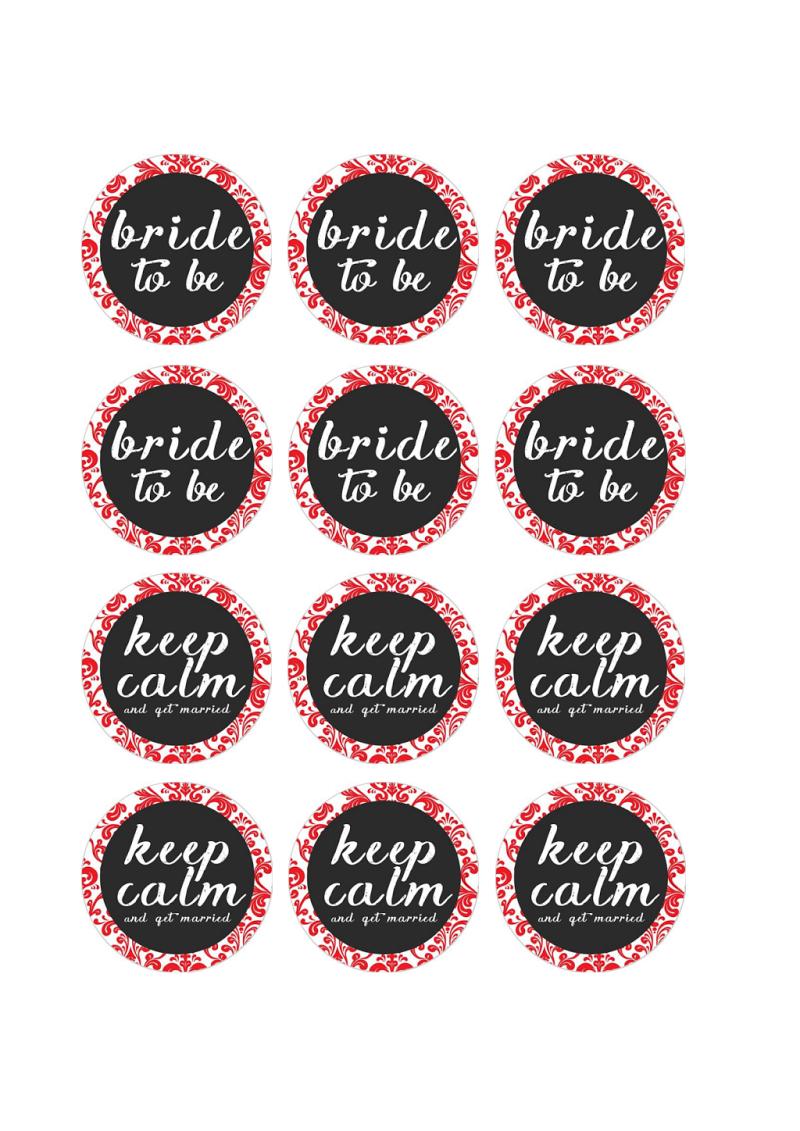 Free Printable Pdf // Bridal Shower Cupcake Toppers, Red Damask - Free Printable Cupcake Toppers Bridal Shower