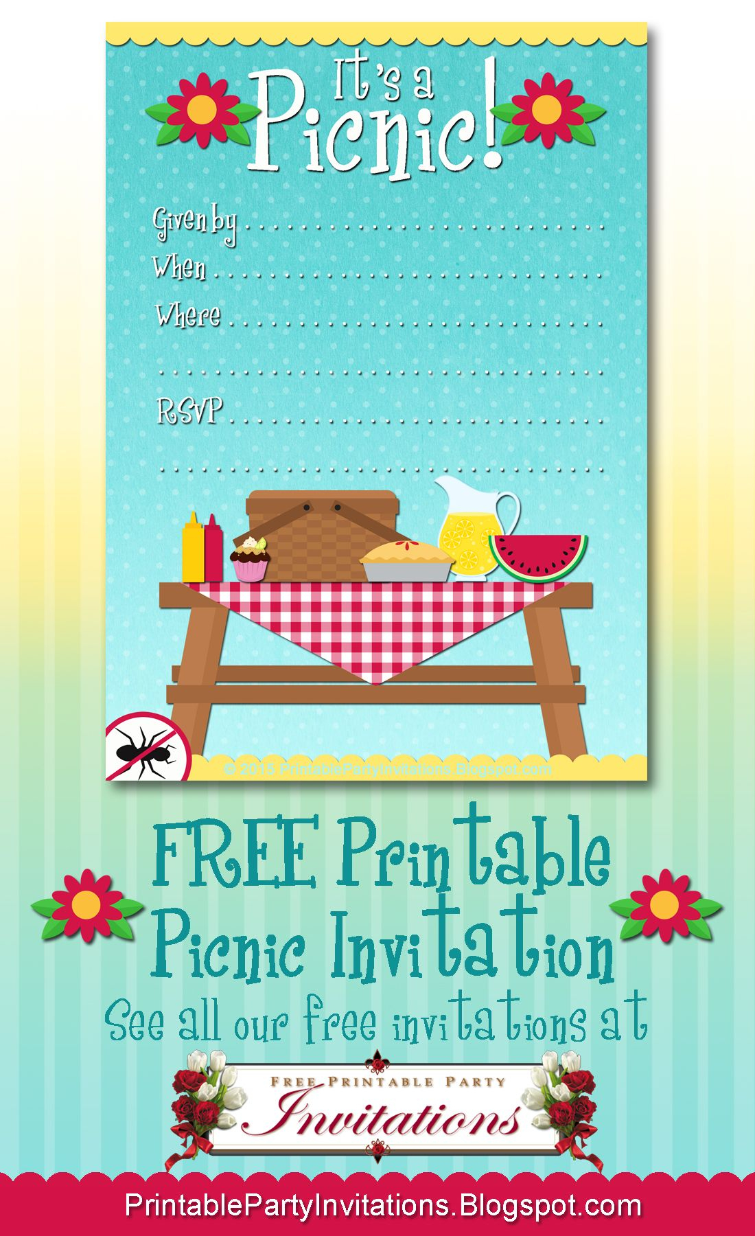Free Printable Picnic Invitation | Party Printables | Picnic - Free Printable Water Park Birthday Invitations