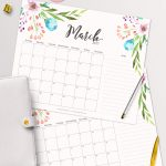 Free Printable Planner   2017 March Calendar With Beautiful   Free Printable Agenda 2017