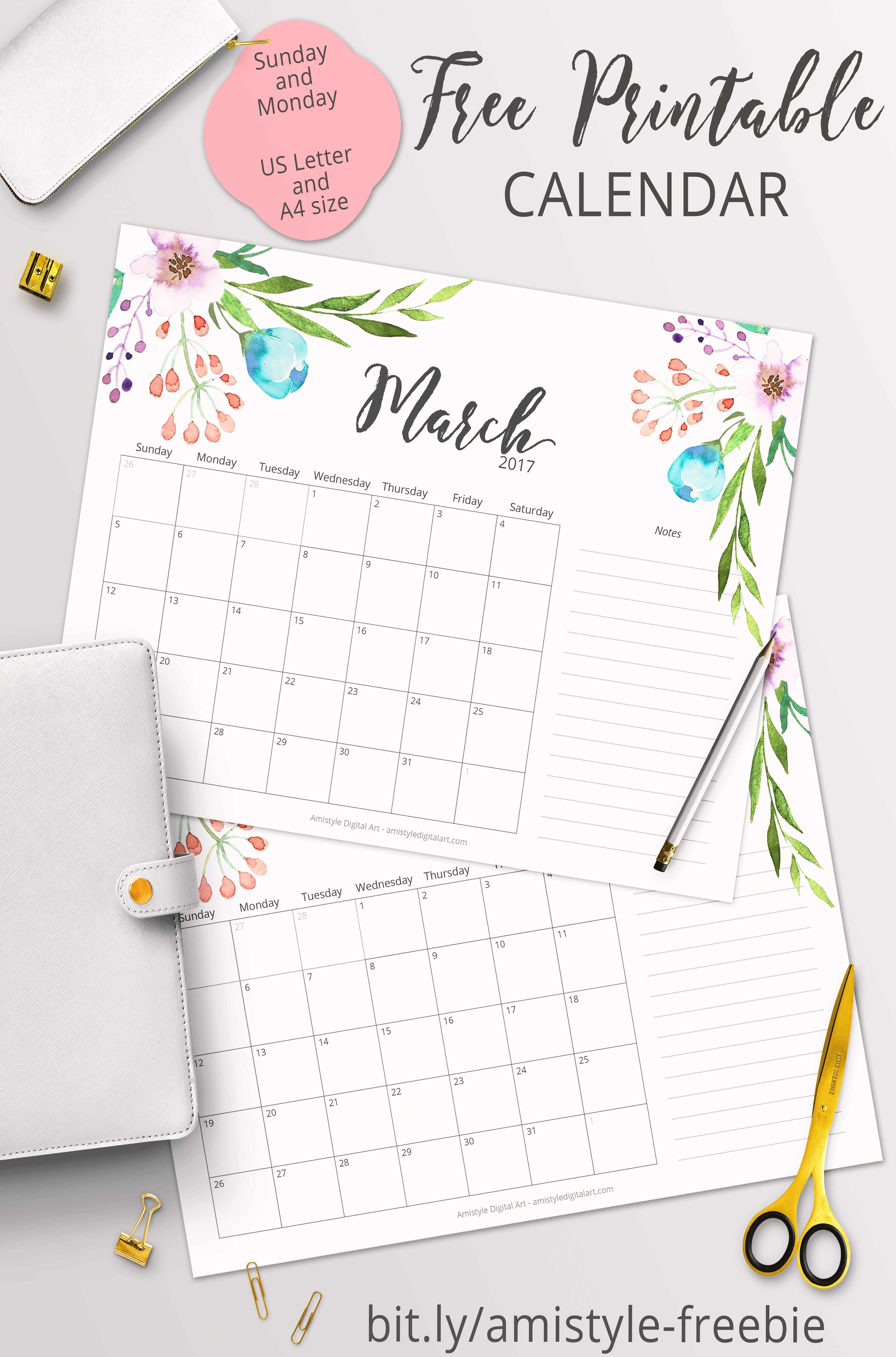 Free Printable Planner - 2017 March Calendar With Beautiful - Free Printable Agenda 2017