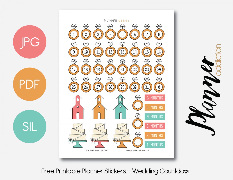 Free Printable Planner Stickers - Wedding Countdown   ♡ Wedding - Free Printable Wedding Countdown