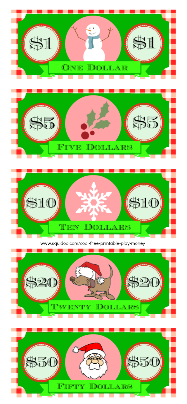 Free Printable Play Money Kids Will Love - Christmas Money Wallets Free Printable