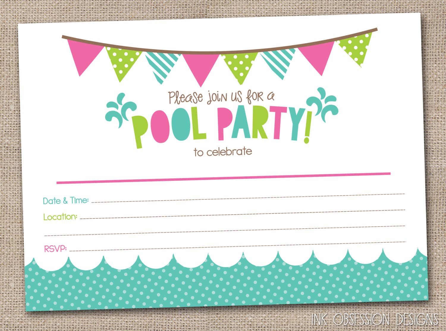 Free Printable Pool Party Birthday Invitations | Backyard Design Ideas - Free Printable Pool Party Invitation Cards
