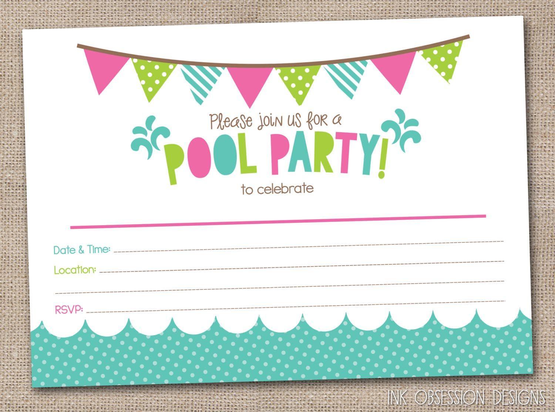 Free Printable Pool Party Birthday Invitations   Party Invitations - Free Printable Pool Party Birthday Invitations