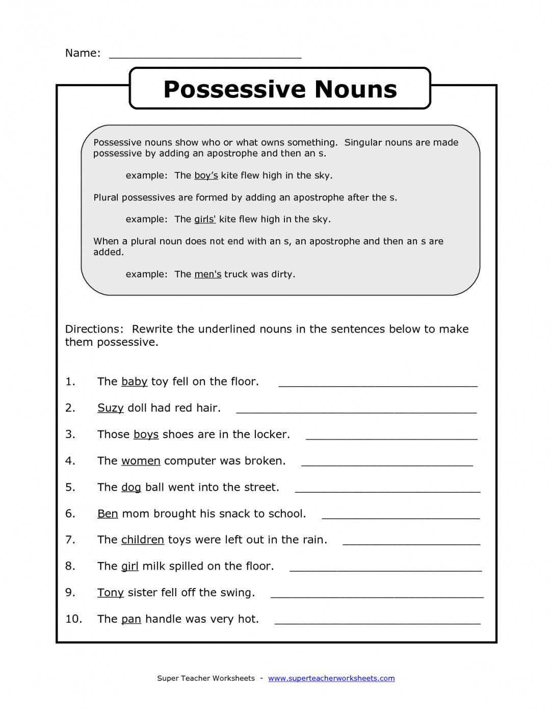 Free Printable Possessive Nouns Worksheets | Lostranquillos - Free Printable Possessive Nouns Worksheets