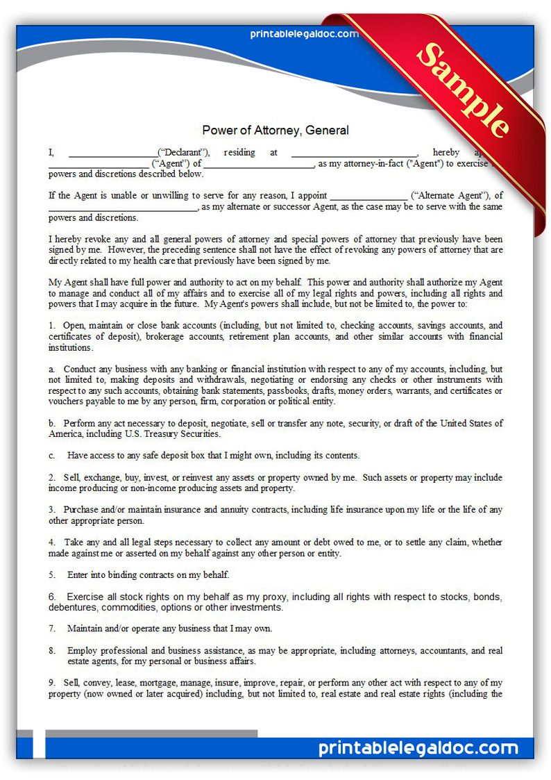 Free Printable Power Of Attorney, General Legal Forms   Free Legal - Free Printable Power Of Attorney Form California