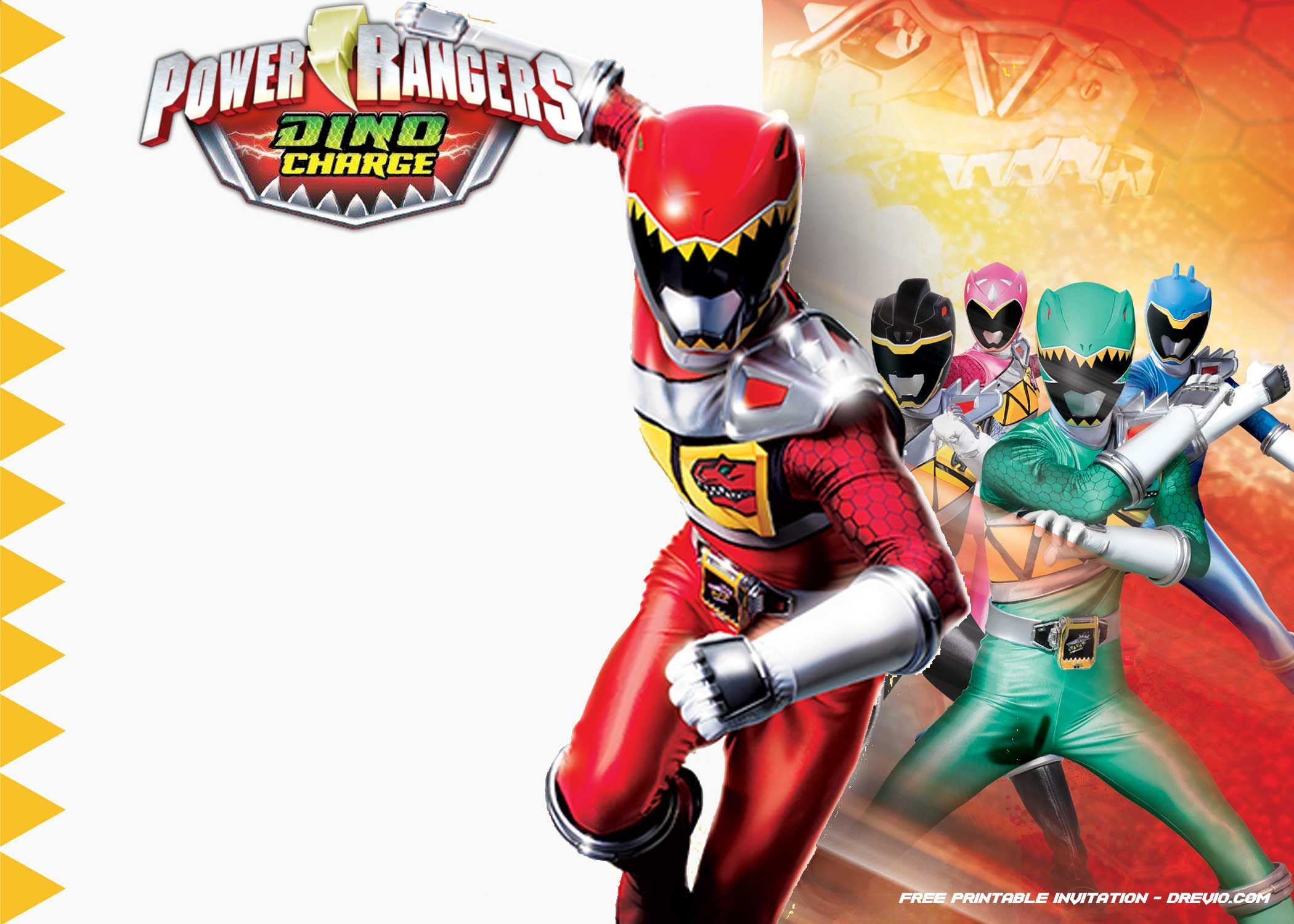 Free Printable Power Rangers Dino Charge Invitation | Desserts - Free Printable Power Ranger Birthday Invitations