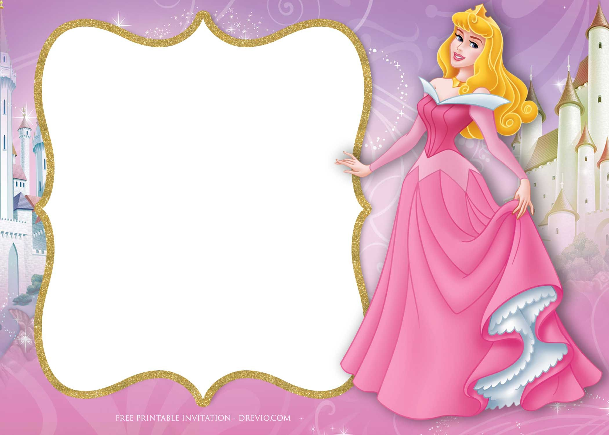Free Printable Princess Aurora Sleeping Beauty Invitation - Free Princess Printable Invitations