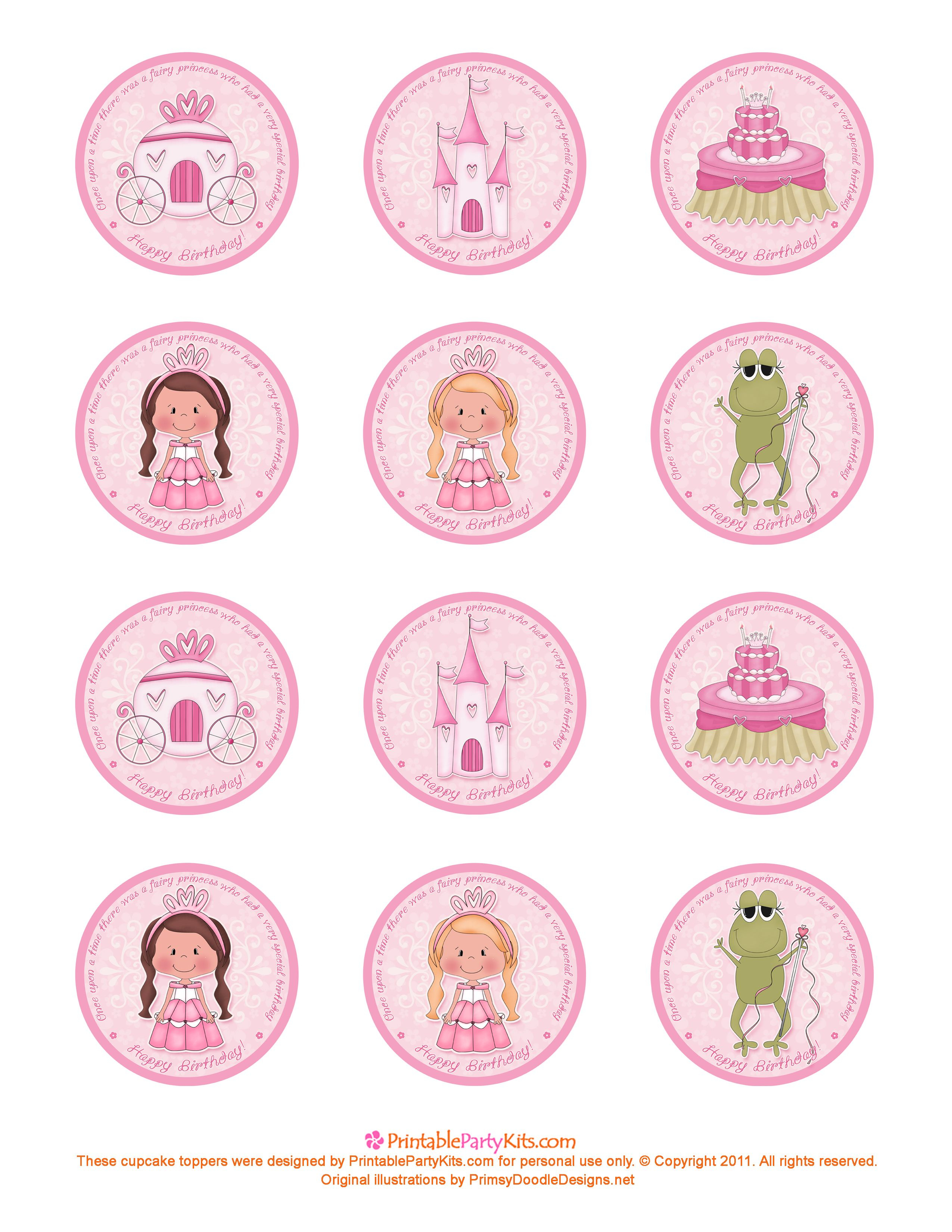 Free Printable Princess Birthday Cupcake Toppers | Printable Party - Cupcake Flags Printable Free