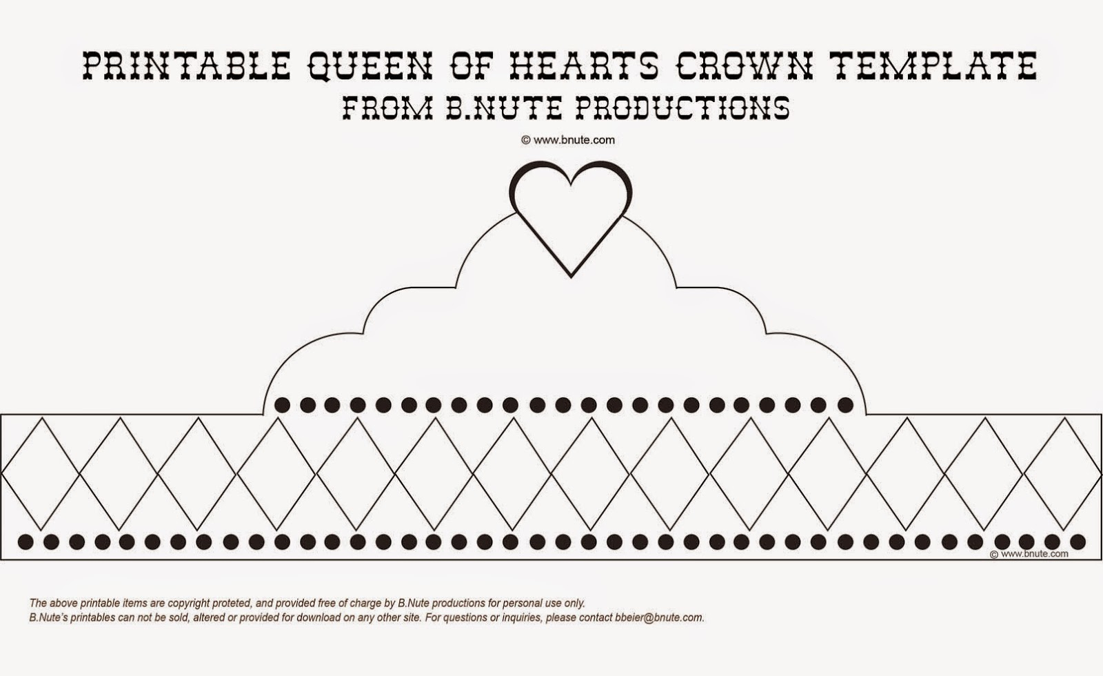 Free Printable Queen Of Hearts Crown. Free Printable And Template - Free Printable Crown