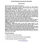 Free Printable Reading Comprehension Worksheets 3Rd Grade For   Free Printable Reading Comprehension Worksheets