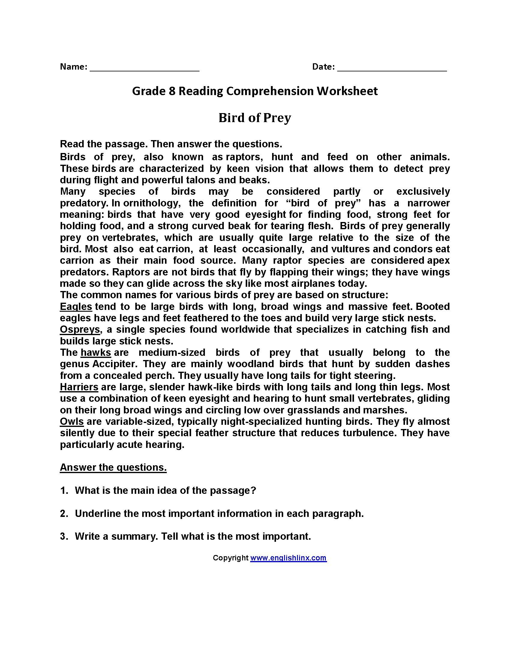 Free Printable Reading Comprehension Worksheets 3Rd Grade For - Free Printable Reading Comprehension Worksheets
