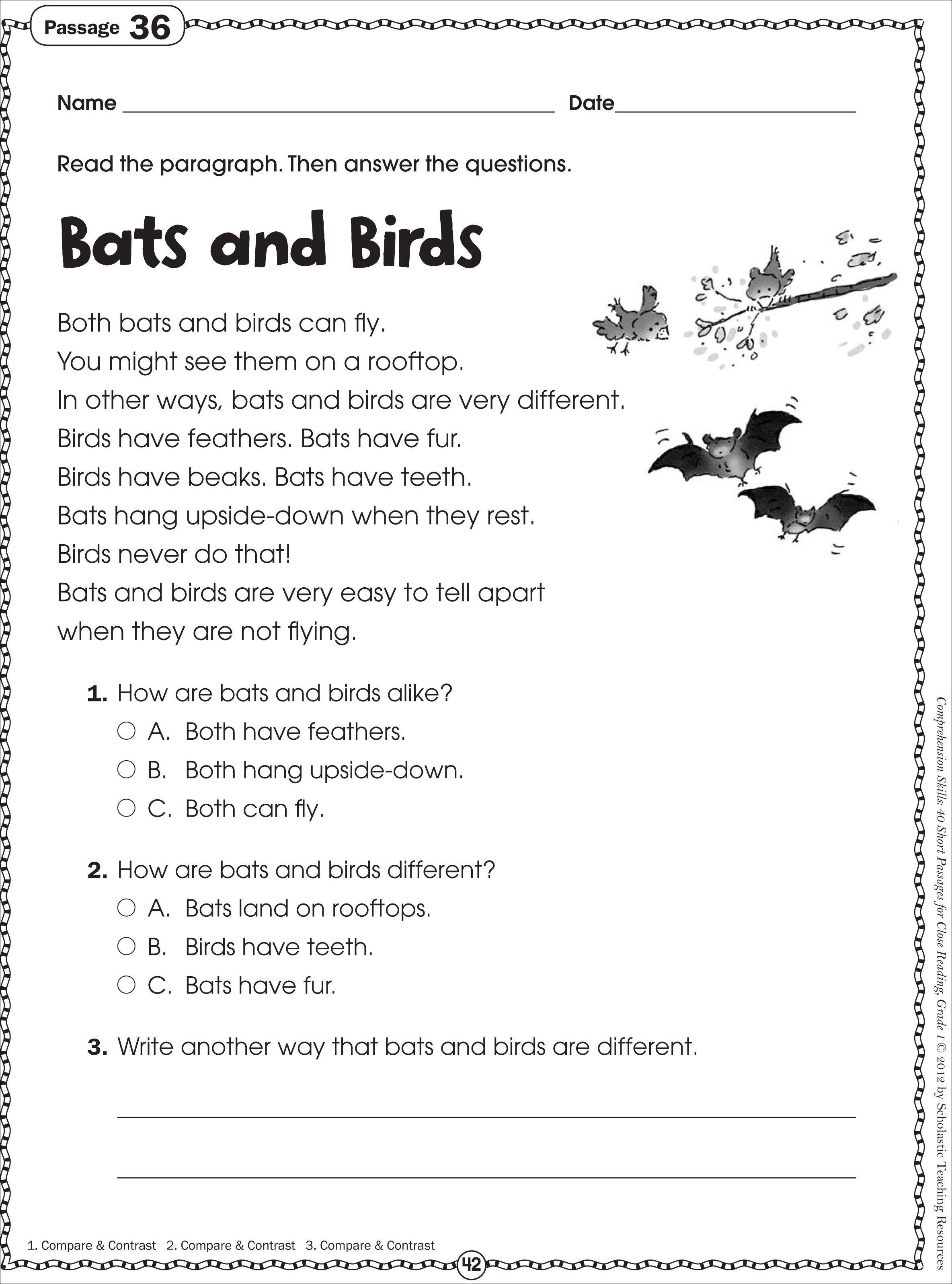Free Printable Reading Comprehension Worksheets For Kindergarten - Free Printable Hindi Comprehension Worksheets For Grade 3