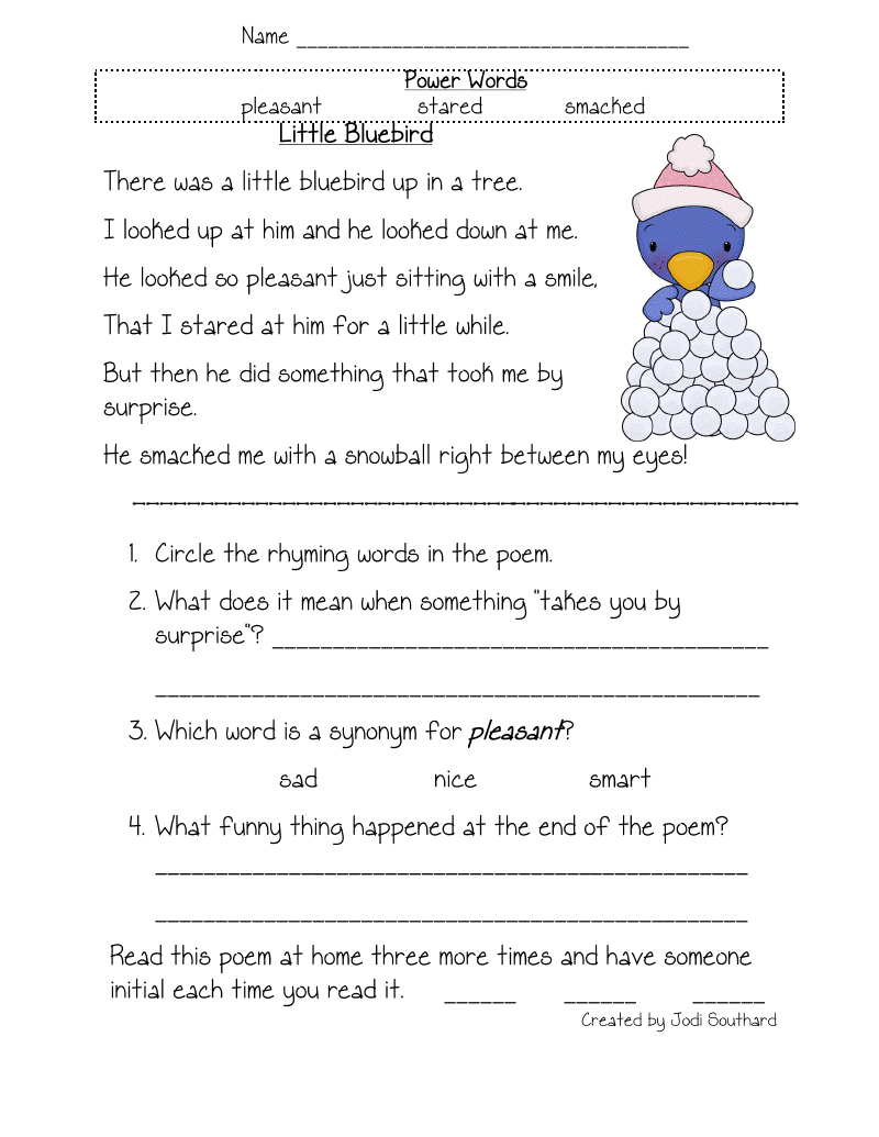 Free Printable Reading Comprehension Worksheets For Kindergarten - Free Printable Stories For 4Th Graders