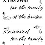 Free Printable Reserved Seating Signs For Your Wedding Ceremony   Free Printable Reserved Table Signs