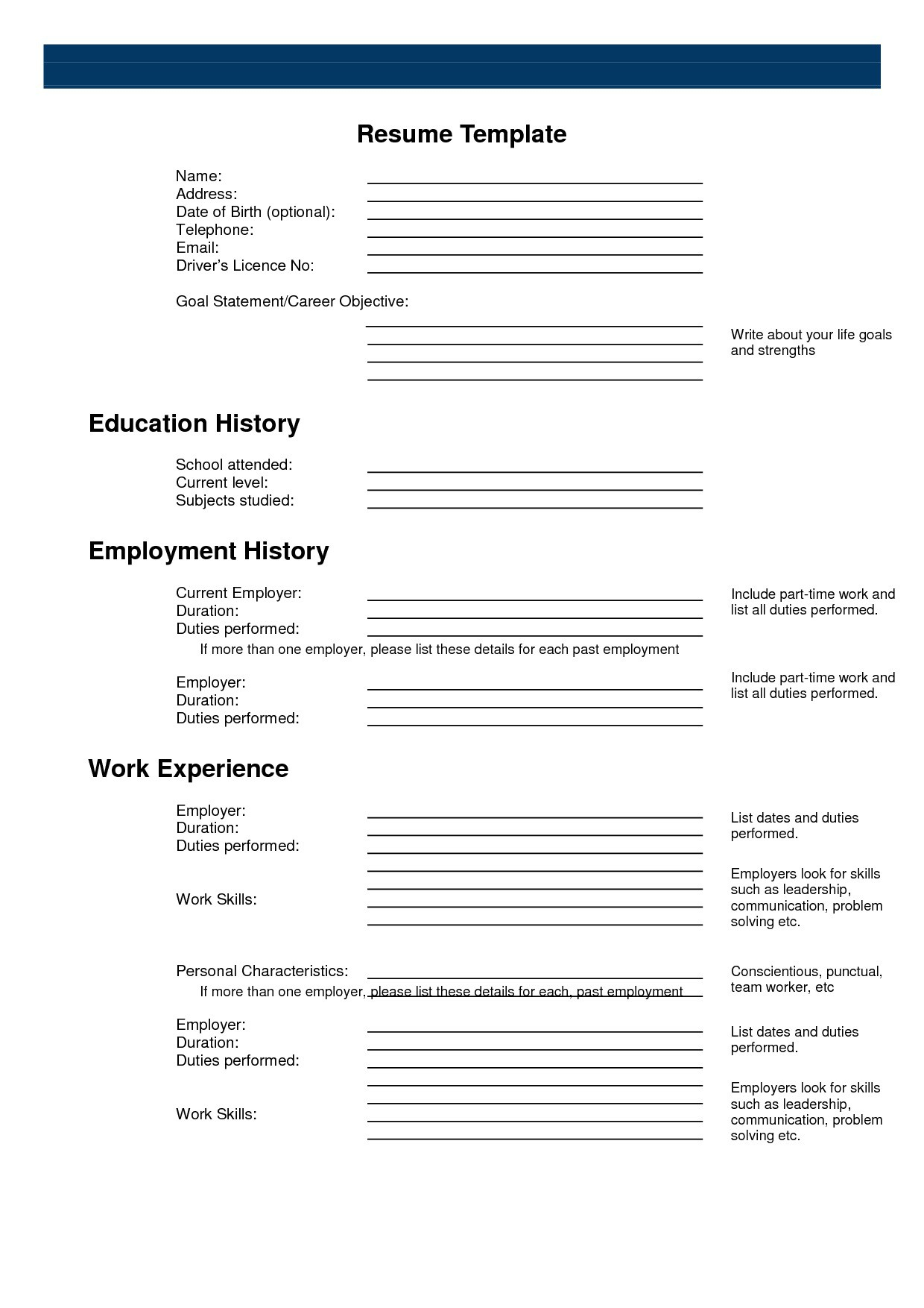 Free Printable Resume Builder Templates – Thatretailchick - Free Printable Resume Builder