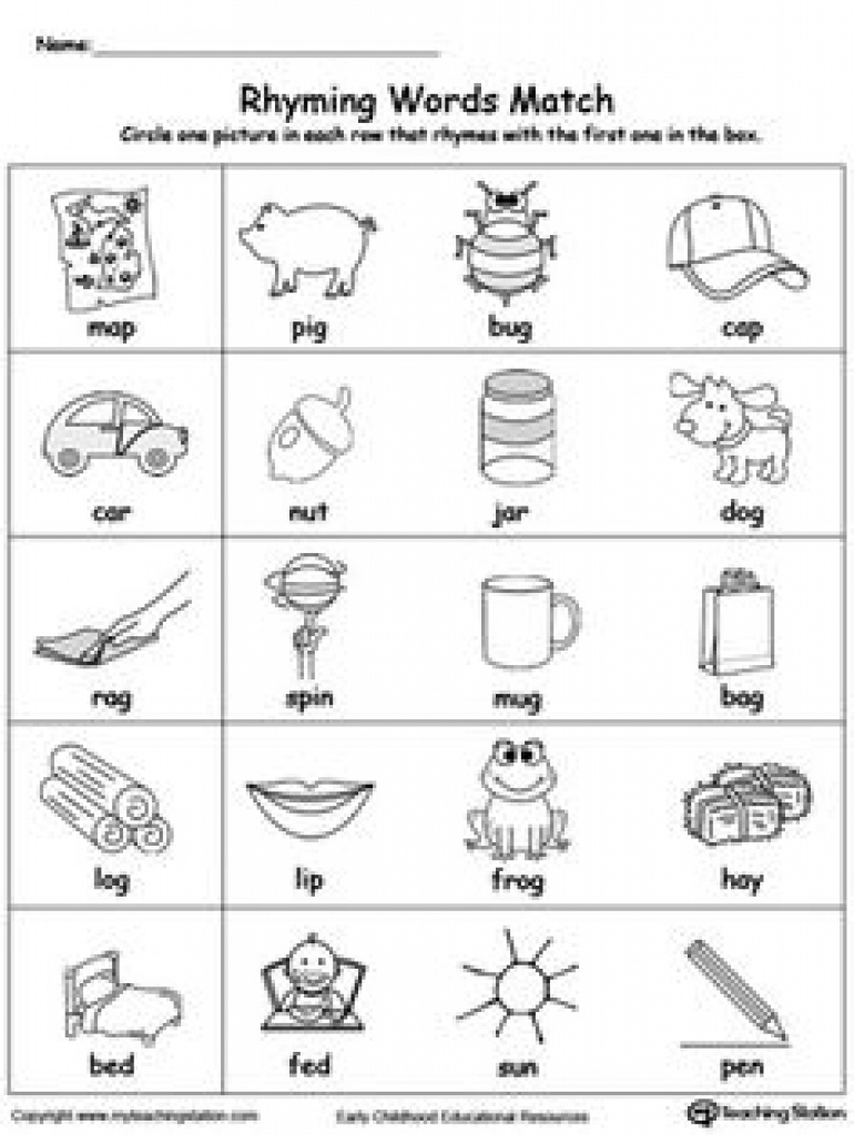 Free Printable Rhymes Rhyming Words Worksheets For Preschool - Free Printable Rhyming Activities For Kindergarten