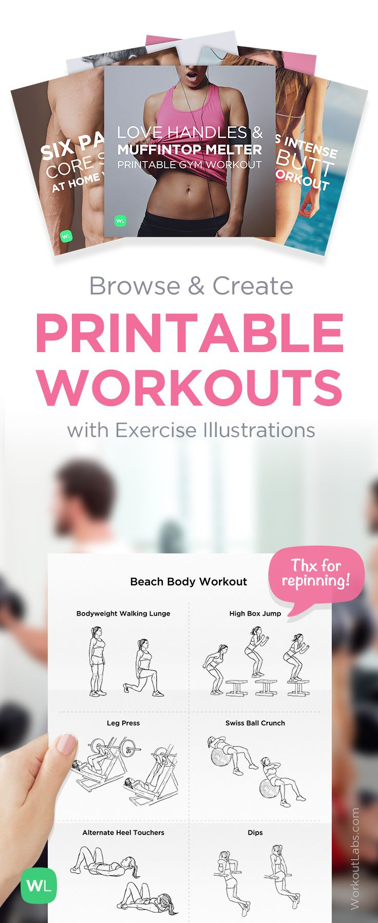 Free Printable Routines, Workout Packs And Exercise Programs - Free Printable Gym Workout Plans
