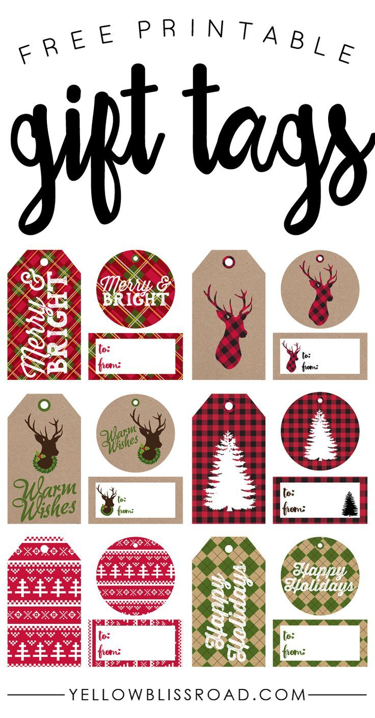Free Printable Rustic And Plaid Gift Tags | Best Of Pinterest - Free Printable Christmas Tags