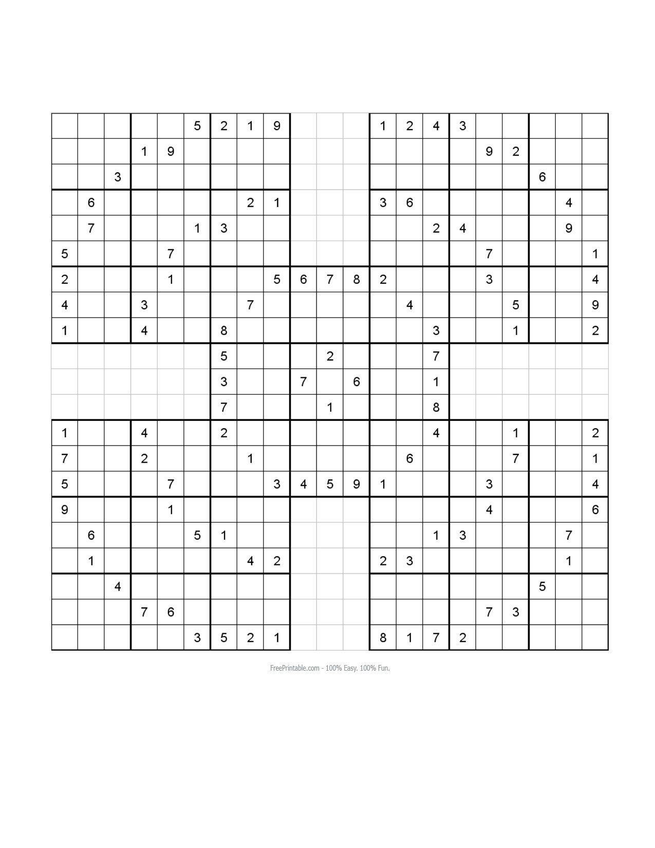 Free Printable Samurai Sudoku Puzzles   Sudoku - Sudoku 16X16 Printable Free